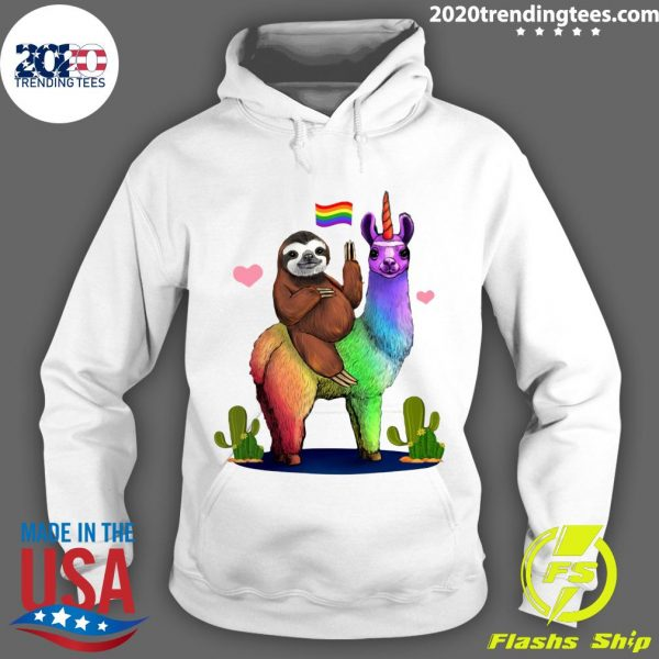 LGBT Sloth Riding A Llama Gay Lesbian Pride Shirt