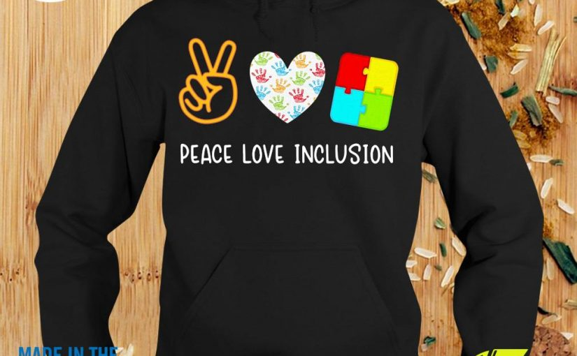 Official Peace Love Inclusion Sped Teacher Gift Shirt